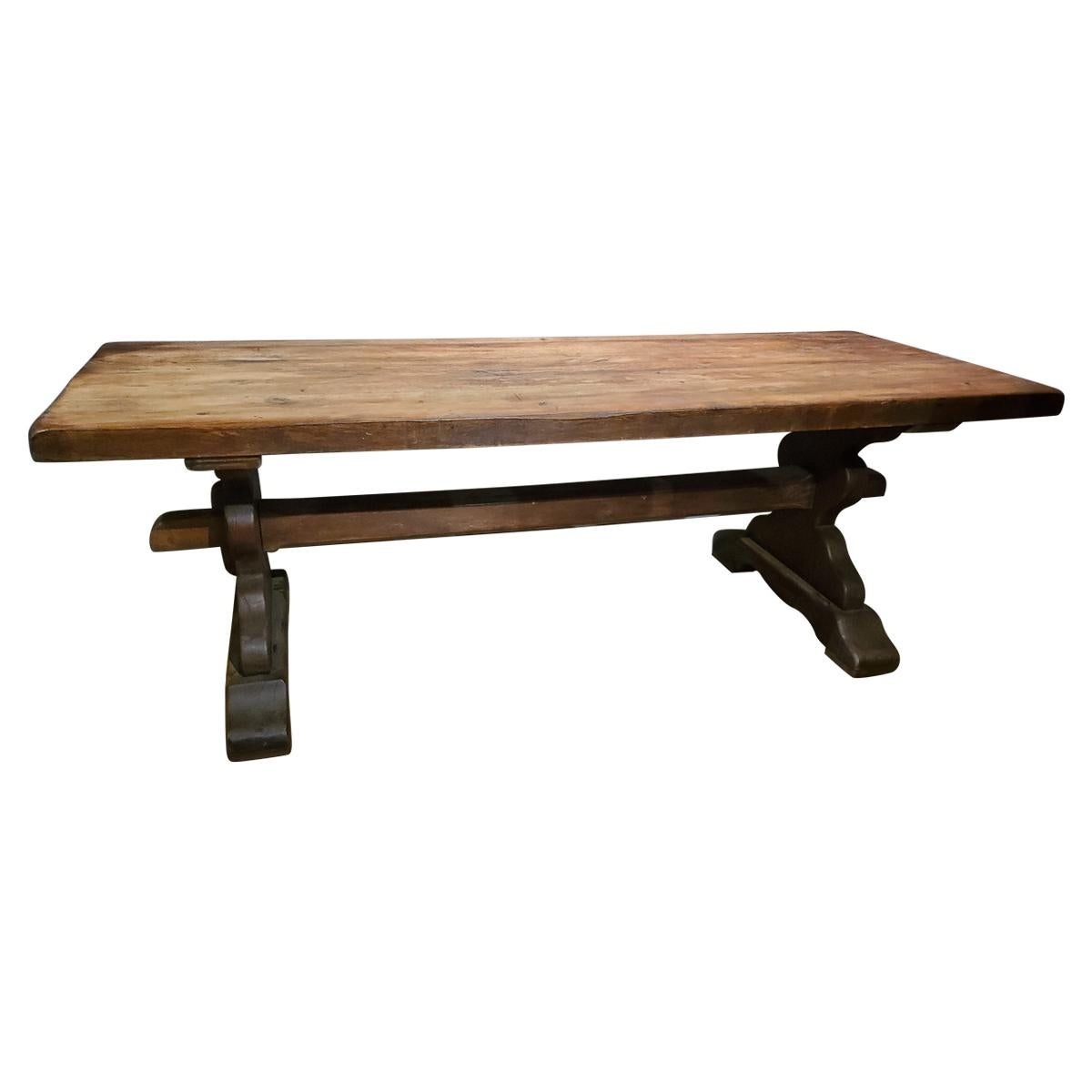 19th Century Louis XIV Style French Provincial Oak Trestle Table