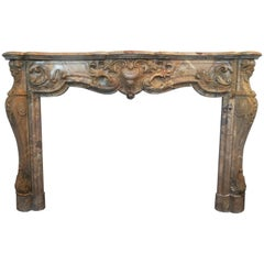 19th Century, Louis XIV Style, Rare Fireplace in Sarrancolin Fantastico Marble