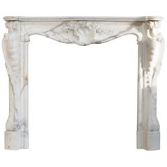 19th Century, Louis XV Antique Statuario Marble Fireplace