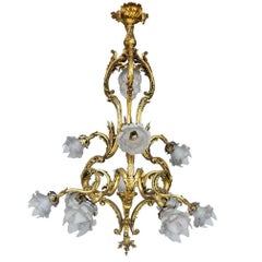 19th Century Louis XV French Tulip Bronze Chandelier