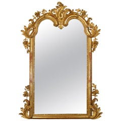 19th Century Louis XV Giltwood Mirror with Original Gilt and Mirror Plate