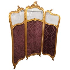 19th Century Louis XV, Giltwood Three Fold Screen with Original Glass Panels