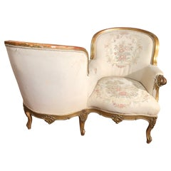19th Century Louis XV Golden France Sofa Tête-à-tête, 1870s-1880s