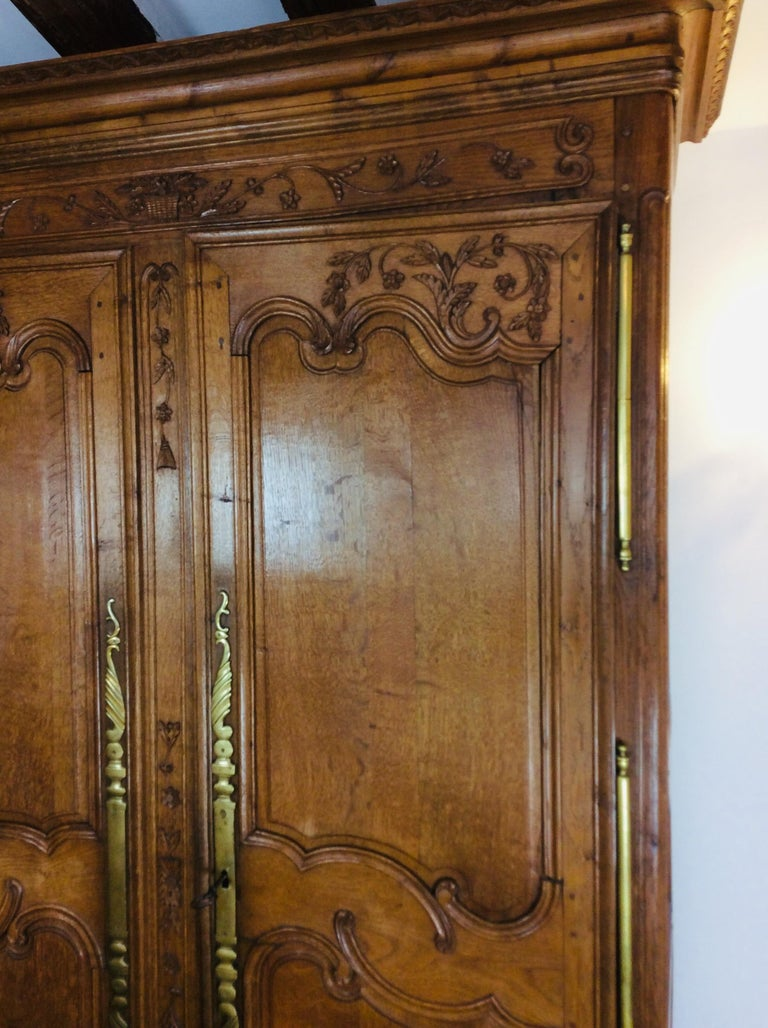 19th Century Louis XV Oak Armoire from Normandy, France For Sale 6