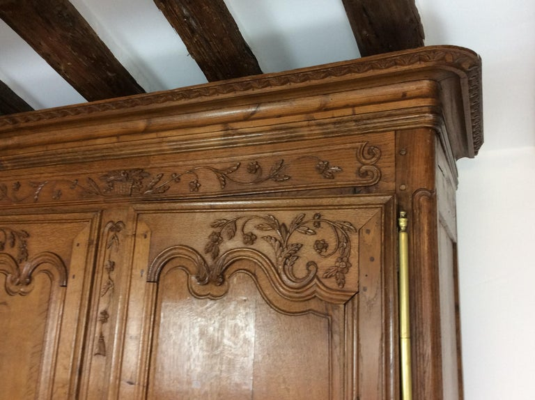 19th Century Louis XV Oak Armoire from Normandy, France For Sale 8
