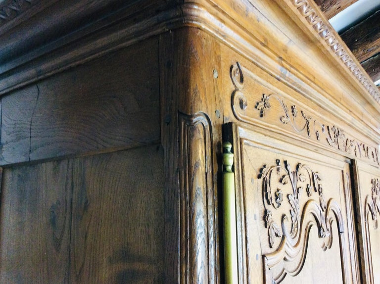 19th Century Louis XV Oak Armoire from Normandy, France For Sale 5