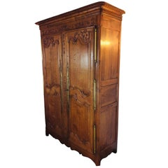 19th Century Louis XV Oak Armoire from Normandy, France