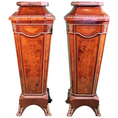 19th Century France Louis XV Pair of Columns Marquetry Inlaid Pedestals, 1880s
