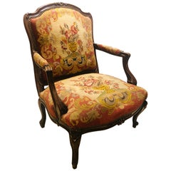 19th Century Louis XV Style Armchair Bergere Petite and Gros Point Upholstery