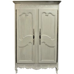 19th Century Louis XV Style Armoire Painted in Soft Turquoise Over Solid Cherry