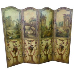 19th Century Louis XV Style Canvas Painted Screen