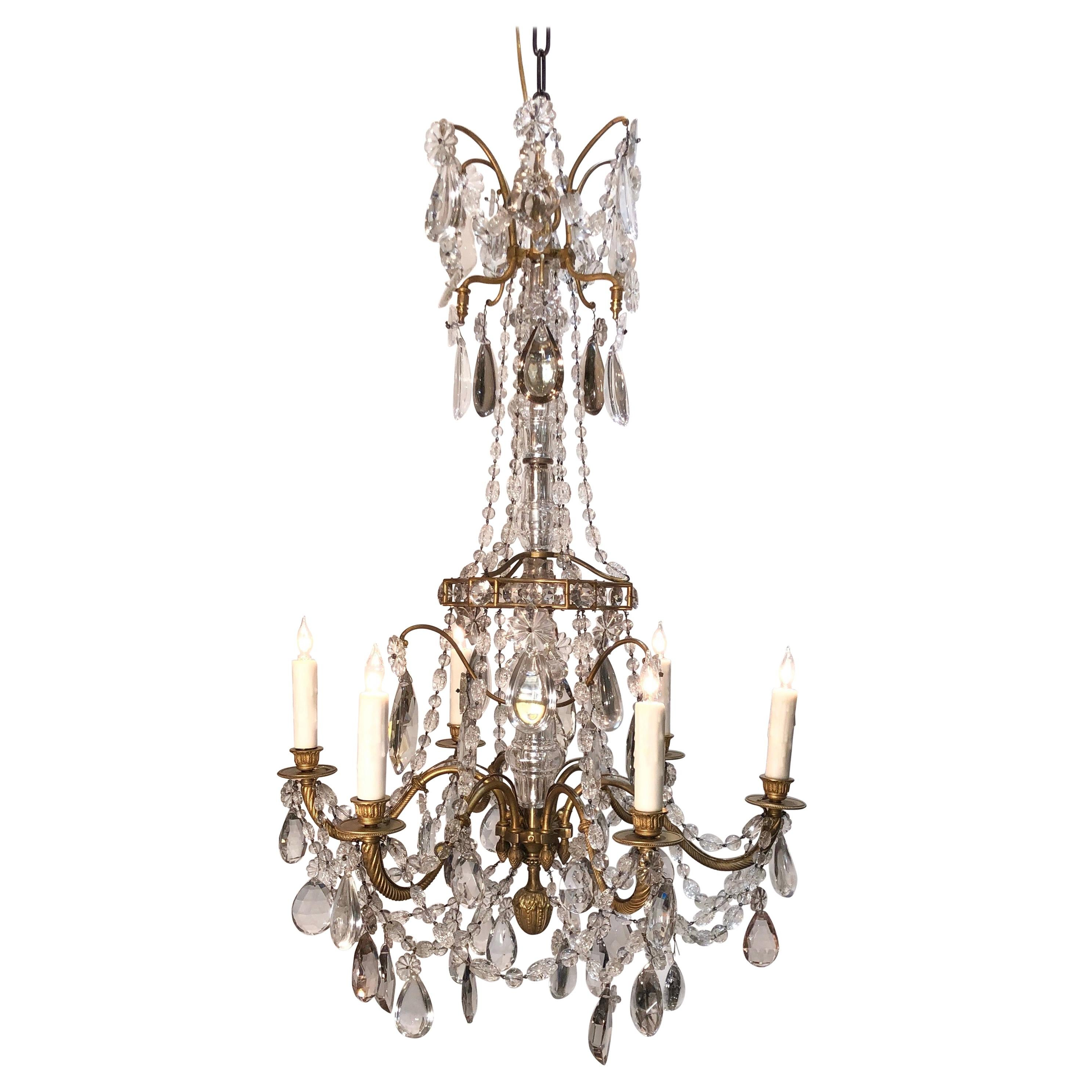 19th Century Louis XV Style Crystal and Gilt Bronze Chandelier