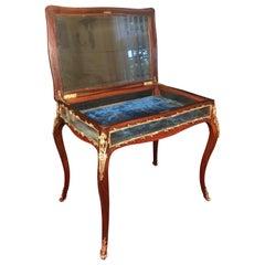 19th Century Louis XV Style Curio Display Table, Mahogany with Bronze Mounts