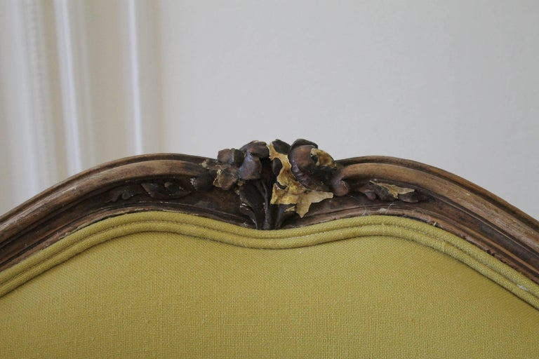 French 19th Century Louis XV Style Fauteuil in Chartreuse Linen For Sale