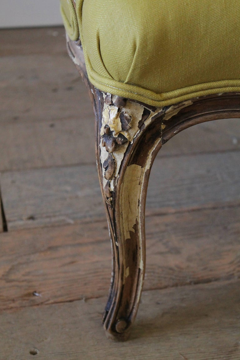 19th Century Louis XV Style Fauteuil in Chartreuse Linen In Good Condition For Sale In Brea, CA