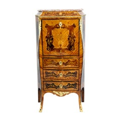 19th Century Louis XV Style French Marquetry and Bronze Ladies Secretaire Chest