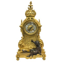 19th Century Louis XV Style Gilt Bronze Figural Mantel Clock by E. Godeau Paris