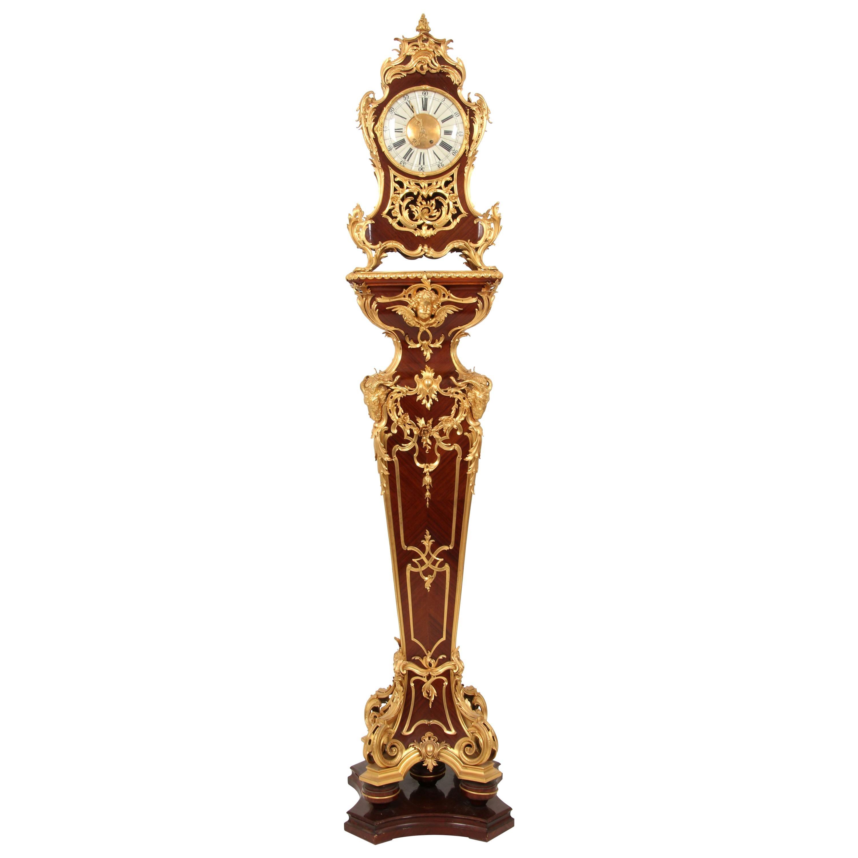 19th Century Louis XV Style Gilt Bronze Mounted Mahogany Clock on Pedestal