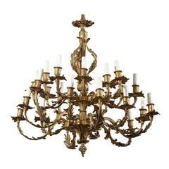 19th Century Louis XV Style Gilt Metal Chandelier