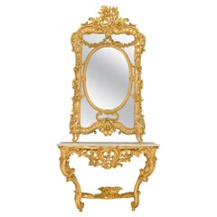 19th Century Louis XV Style Giltwood and Carrara Marble Console and Mirror