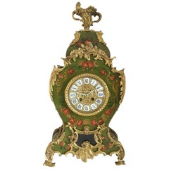 19th Century Louis XV Style Green Floral Decorated Mantel Clock, circa 1830