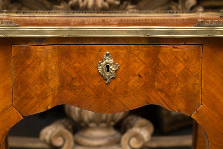 19th Century Louis XV Style Inlaid Side Table For Sale 4