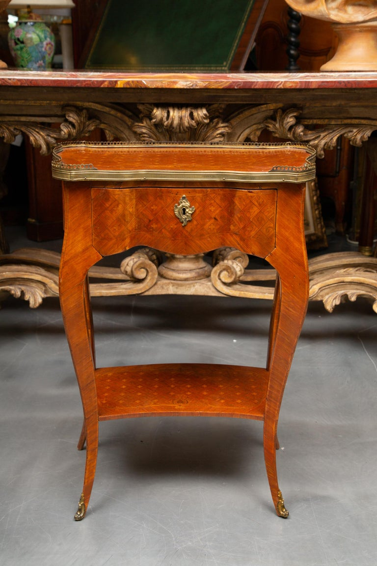 19th Century Louis XV Style Inlaid Side Table For Sale 5