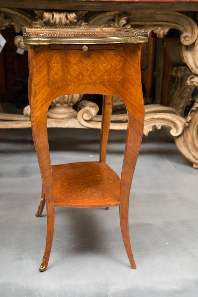 French 19th Century Louis XV Style Inlaid Side Table For Sale