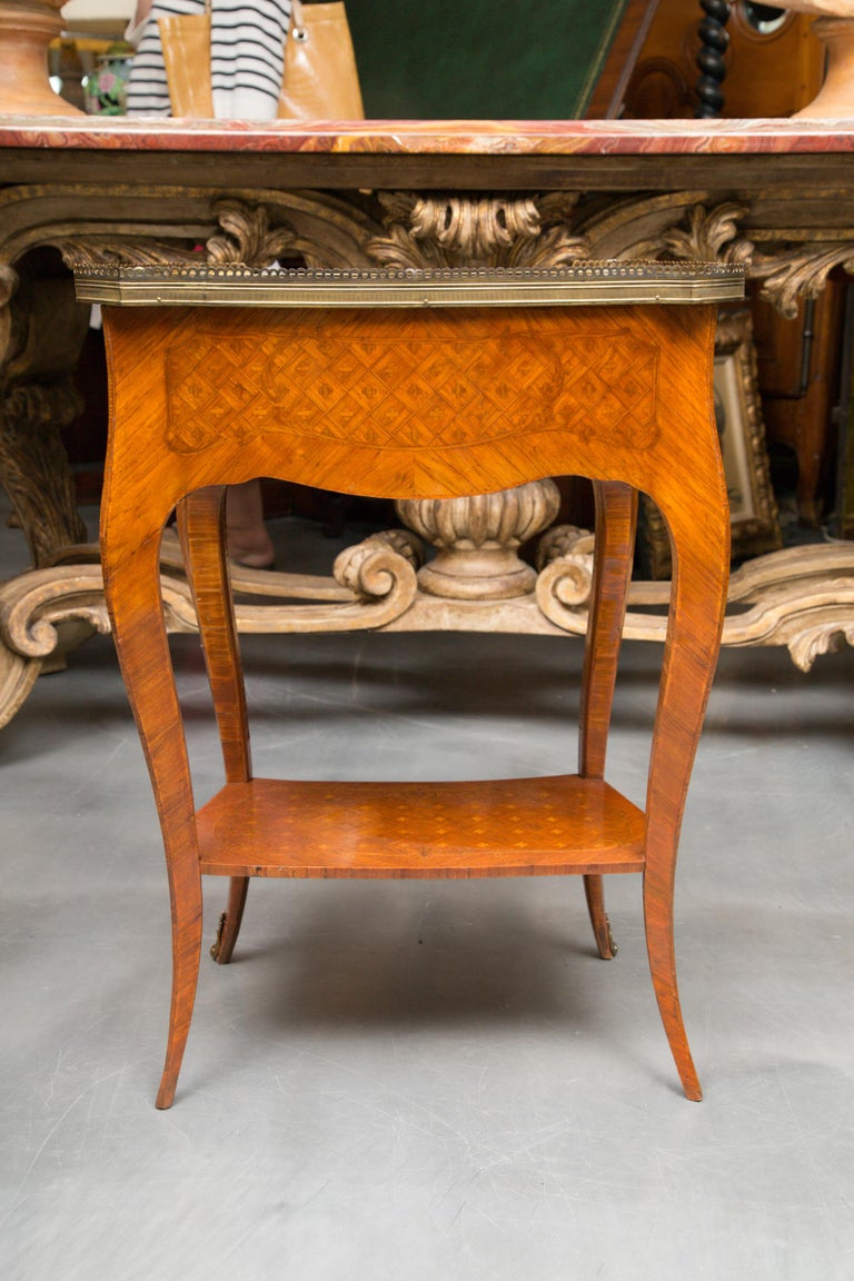 Hand-Carved 19th Century Louis XV Style Inlaid Side Table For Sale
