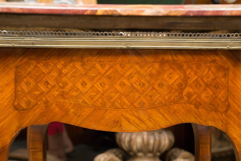 19th Century Louis XV Style Inlaid Side Table In Good Condition For Sale In WEST PALM BEACH, FL
