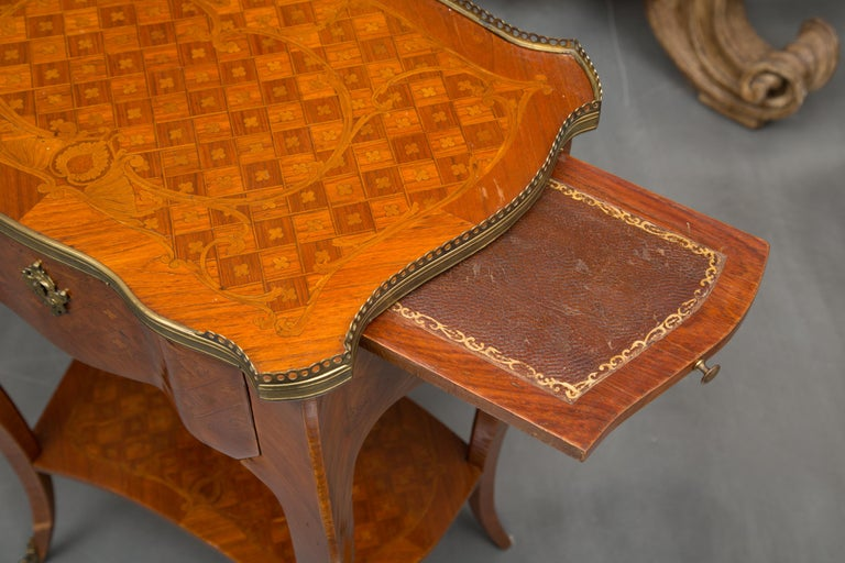 Satinwood 19th Century Louis XV Style Inlaid Side Table For Sale