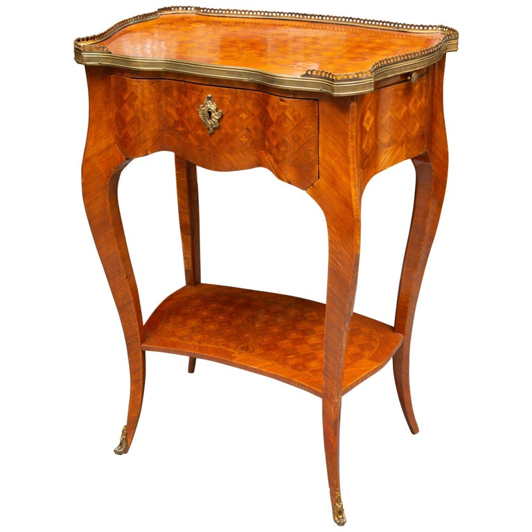 19th Century Louis XV Style Inlaid Side Table For Sale