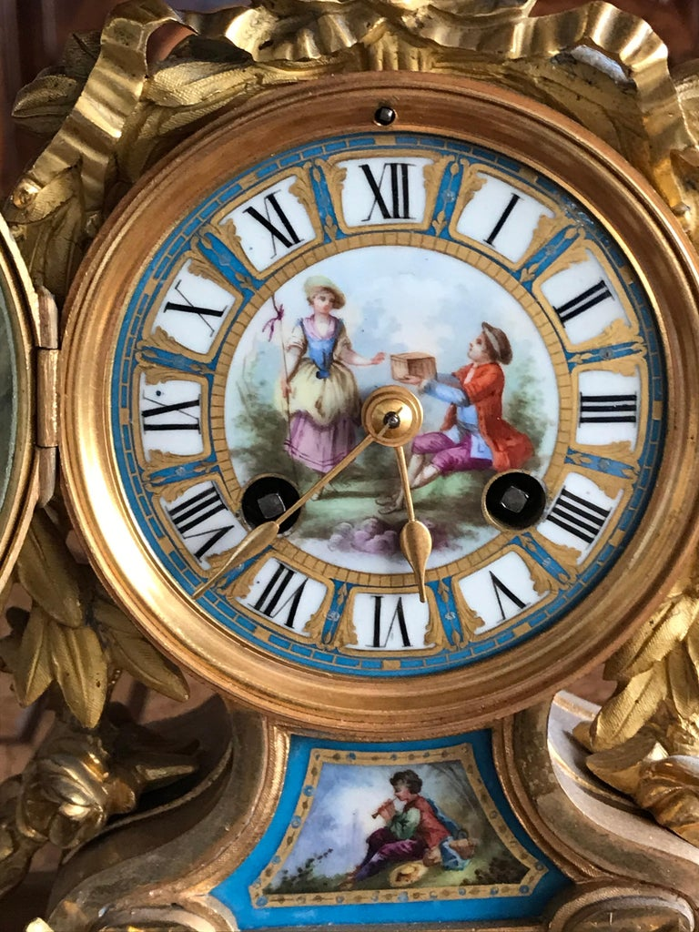 19th Century Louis XV Style Mantel Clock In Good Condition For Sale In Belmont, MA