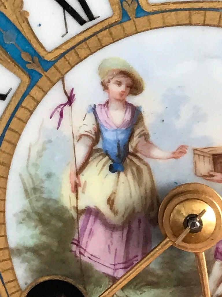 Porcelain 19th Century Louis XV Style Mantel Clock For Sale