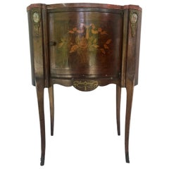 19th Century Louis XV Style Marquetry Ormolu Side Table / Nightstand