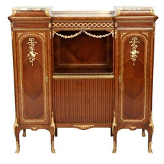 19th Century Louis XV Style Music Cabinet Signed Francois Linke