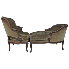 19th Century Louis XV Style Natural Wood Duchesse Brisée