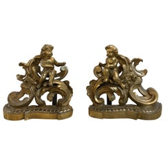 19th Century Louis XV Style Pair of Bronze Cherub Andirons, Opposing Faces