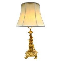 19th Century Louis XV Style Rococo Gilt Bronze Figural Lamp