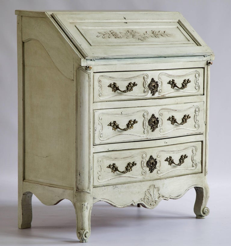 Louis XV Style Scriban, in solid oak. Hand-carved with Provincial carving and hand-painted in an aged ecru on the outside with a dark midnight blue patina on the inside writing section.
