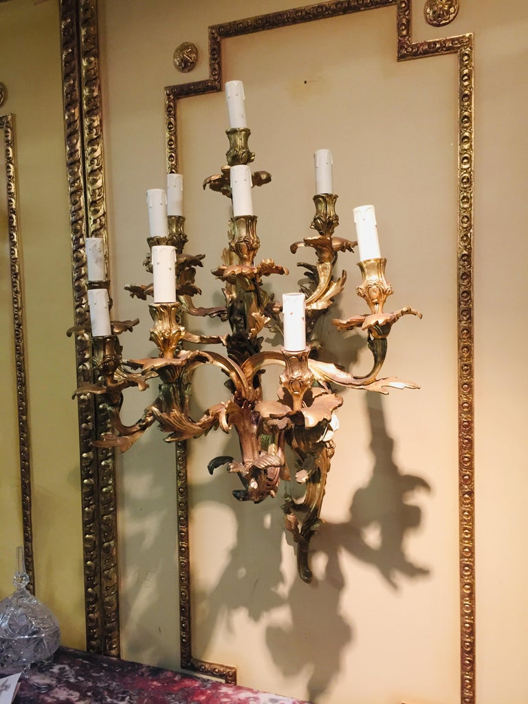19th Century Louis XV Style Ten-Lighted Luminaire Wall Light For Sale 1
