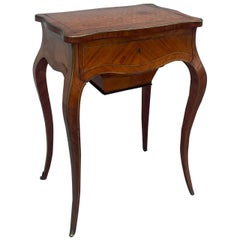 19th Century Louis XV Style Tulipwood Parquetry Sewing Table