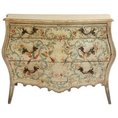 19th Century Louis XV Style Venetian Painted Bombe Chest Of Drawers