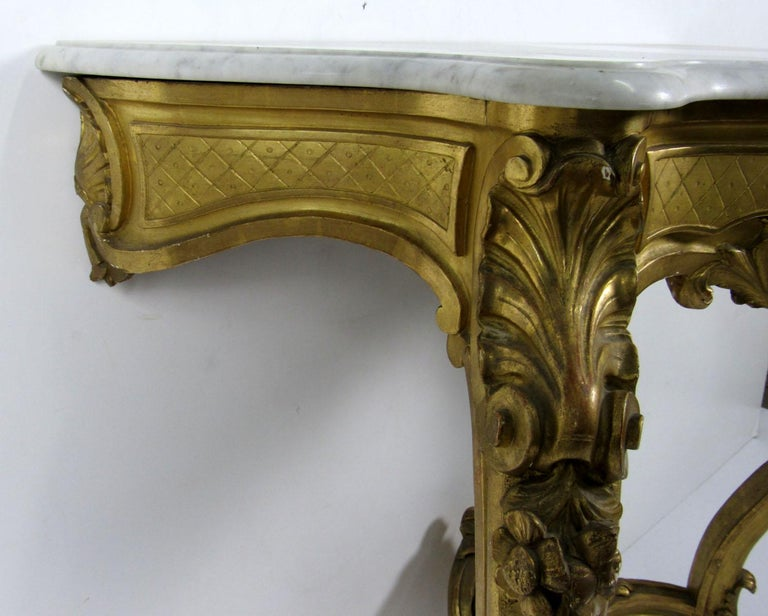 Carrara Marble 19th Century Louis XV Style Wall Console For Sale