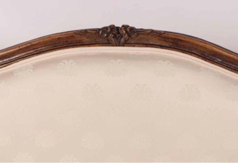 Upholstery 19th Century Louis XV Style Walnut Serpentine Sofa For Sale