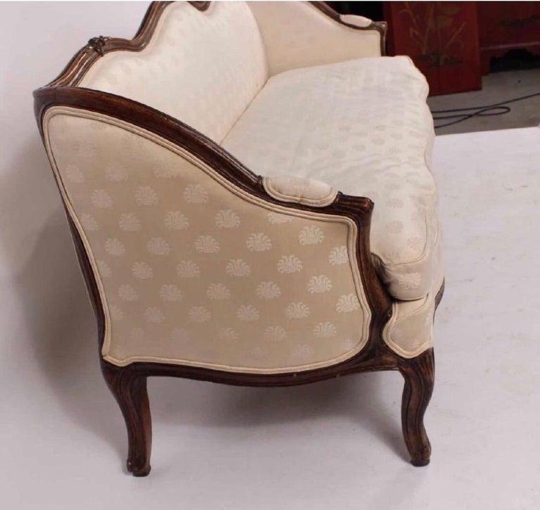 19th Century Louis XV Style Walnut Serpentine Sofa For Sale 1