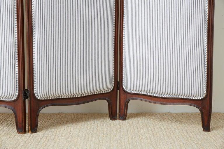 19th Century Louis XV Style Walnut Three-Panel Folding Screen For Sale 6