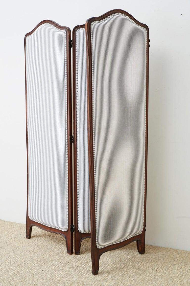 19th Century Louis XV Style Walnut Three-Panel Folding Screen For Sale 8