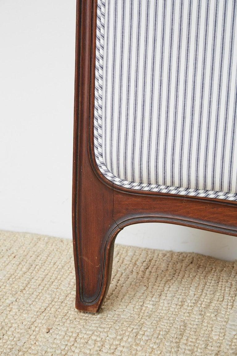 Brass 19th Century Louis XV Style Walnut Three-Panel Folding Screen For Sale