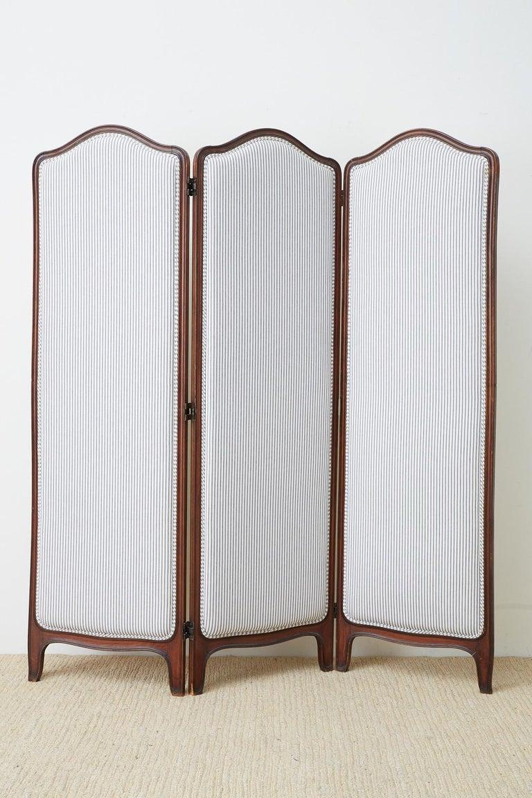 19th Century Louis XV Style Walnut Three-Panel Folding Screen For Sale 3